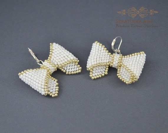 small bow earrings white silver gift for by