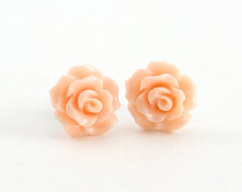 Tiny Peachy Pink Ruffled Rose Earrings, Stud Earrings, Flower Earrings, Bridesmaids Gift