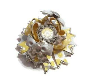 Yellow and Grey Initial Stacked Hair Bow-5.5 inches-Polka Dots-Chevron-Yellow-Grey