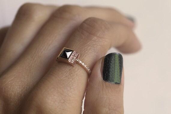 Diamantring rotgold  Diamant-Verlobungsring Rotgold Rotgold schwarz-Diamant-Ring