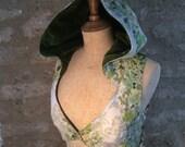 Hooded Lace up Fairy Glade Vest Waistcoat, Reclaimed Cotton, velvet, silk, leafy, Size Medium