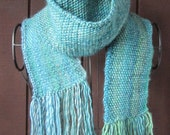 Extra Long and Lovely Hand Knitted Scarf, Knit Acrylic/Wool Women's Scarf With Fringe, Shades of Blue Textured Hand Knit Long Scarf