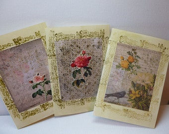Pack of three handmade vintage effect cards.