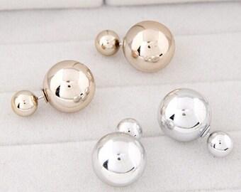 Golden double ball earrings