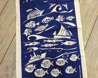 "Tea towel ""Fish and ships"" design"
