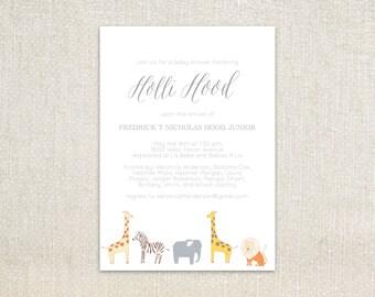 Safari Jungle animals little boy baby shower invitation or birthday invitation