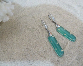 Golden dots on turquoise backgrond earrings...