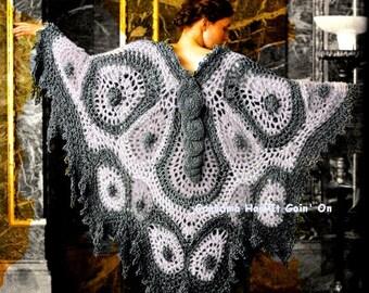 Vintage 70's Crochet Butterfly Shawl 70's Bohemian Vintage Fashion - PDF Pattern - Instant Download Pattern - Fringe Shawl Wrap