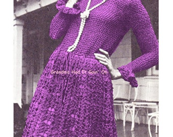 Aran Jumper Dress Knitting Pattern : KNITTING PATTERN Aran Sweater Dress Cable Dress Vintage