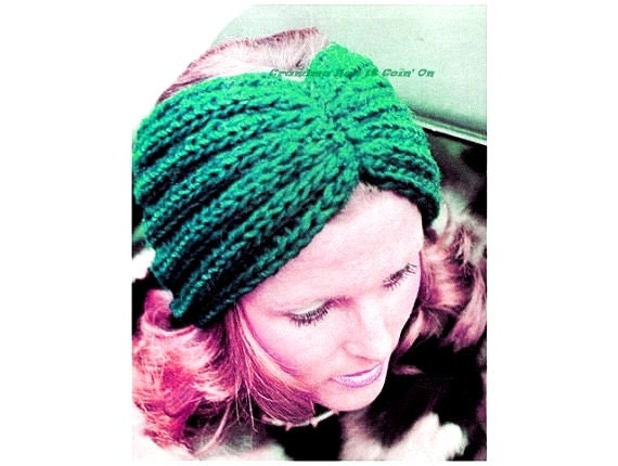 Vintage Headband KNITTING Pattern 1970s Twisted Rib Turban