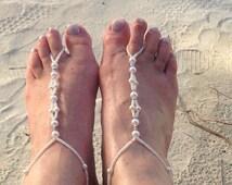 Beach Wedding Barefoot Sandals / Bridal Foot Jewellery / Beach Holiday Foot Jewellery / Summer Holiday Alternative Footwear / Summer Feet