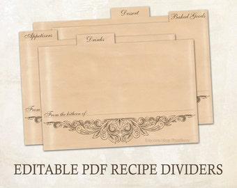Editable recipe dividers Printable recipe dividers 4x6 Editable PDF Printable template editable template Rustic recipe cards