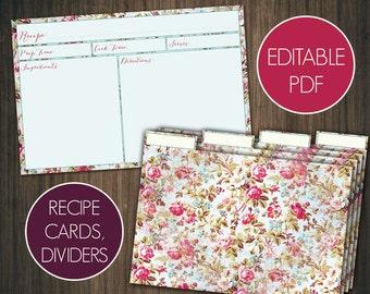 Editable recipe cards divider 4x6 Recipe cards printable recipe cards 4x6 Printable recipe cards template recipe Shabby chic recipe