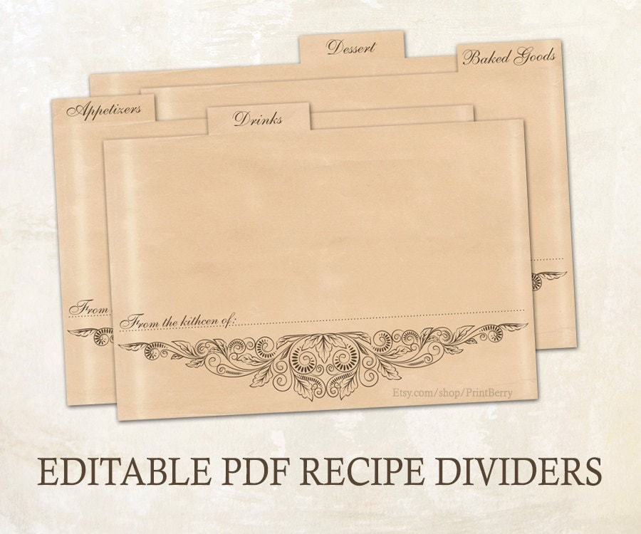 Editable recipe dividers printable recipe dividers 4x6 editable pdf printable template editable for Editable recipe card