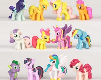 My Little Pony CAKE TOPPER Rainbow Dash Princess Celestia Cadance 12 Figure Set Birthday Party Cupcakes Mini Figurines * FAST Shipping *