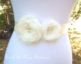 Ivory Bridal Flower Sash,Wedding Flower Sash Belt,Wedding Accessories,Bridal Sash Belt