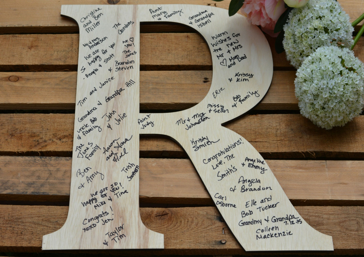 wedding guest book large wood letter personalized guest With how to make a wooden letter guest book