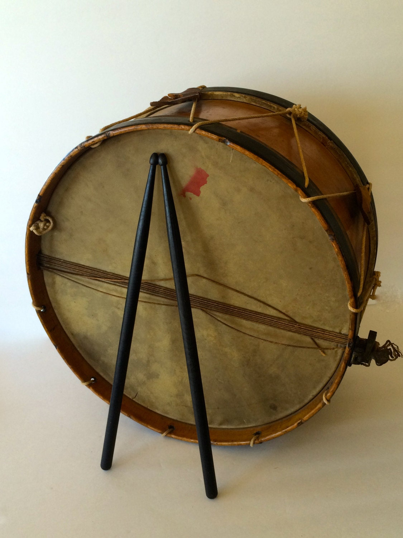 Sale Antique Field Drum Large John C Haynes Co Wooden Rope