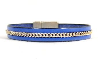 Electric Blue 10mm Flat Chain Leather Bracelet (10FB-195)