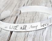 Custom Handwriting Bracelet - Handwriting Jewelry -Bracelet Cuff - Memorial - Signature Jewelry - Signature Bracelet - Personalized Engraved