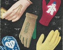 1953 Vintage GLOVES & MITTENS Patterns - Crochet and Knit Patterns for The Entire Family - Shortie Gloves, Plaid, Lace, Norwegian, Snowman