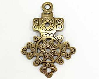 Large Brass Ethopian Cross Pendant  4 Inch- TP107A