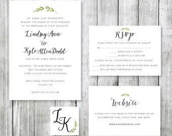 Printable Wedding Invitation Suite - Greenery