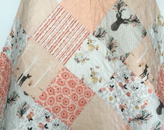 Baby Girl Quilt, Fawn, Stag, Birch Trees, Deer, Woodland, Birch Forest, Coral, Peach, Pink, Crib Bedding, Baby Bedding, Children, Blanket