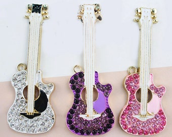 1 Piece Juitar Alloy Rhinestone Bling Bling Decoden Piece for your craft projects