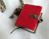 book necklace, mini book jewellery, red leather journal