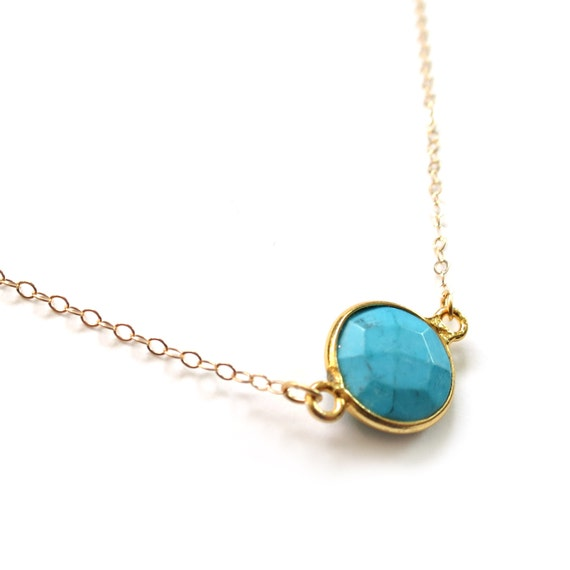 Small Turquoise Necklace, Turquoise Pendant, Turquoise Jewelry, Dainty Gold Necklace, 14k Gold Fill Chain, Delicate Necklace