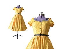1950s Dress 50s Dress Yellow 1950s Dress Yellow Dress Womens 50s Dress Womens Small1950s Dress 1950s Clothing Vintage Clothing Vintage Dress