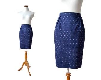 Tiny Dot Blue Skirt / Navy Skirt / Pencil Skirt / Cotton Print Skirt  Medium Navy Blue Skirt / Women Bottom Skirt / Vintage Clothing Skirt