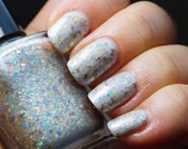 Earth, Wind and Fire - crystal flakie mix & linear holographic creme TOPPER -- nail polish by Indigo Bananas