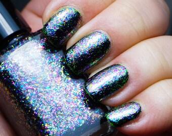 Mul-Ti-Pass - rainbow flakie - multiple mega chrome flakie mix TOPPER - nail polish by Indigo Bananas