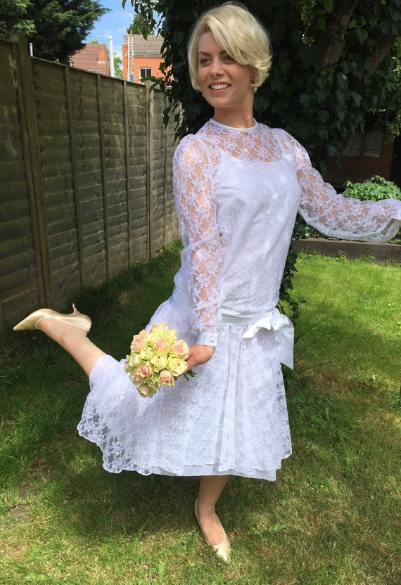 1920s style vintage lace wedding dress white 1980s drop waisted Pronuptia bridal gown