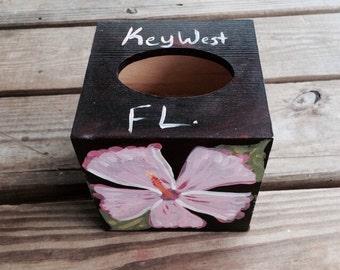 Hand painted tissue box holder pink hibiscus flower