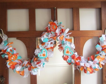 Orange and Turquoise Bird and Heart Rag Garland Photo Prop Baby Shower Bedroom Decor