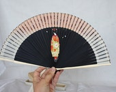 Vintage Hand Fan - Hand Painted Fan - Geisha Painting - Japanese Fan - Asian Art - Japanese Art - Unique Gift - Christmas Gift