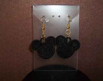 Embroidered Mickey Head Earrings
