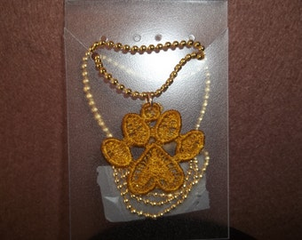 Machine Embroidered Kitty Paw Necklace