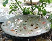 Tide Pool Bird Bath, Custom Handcrafted, Amber, Ruby Red, Gold Tumbled Glass, Assorted Sea Shells