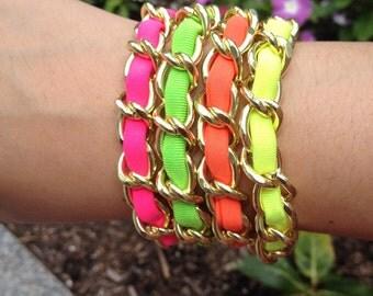 Neon Curb Chain Bracelets