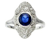 Art Deco Sapphire & Diamond Ring - Vintage Rings