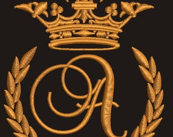 """Crown, laurel wreath and the monogram letter """"A"""" - Machine embroidery design,   design tested."""