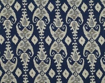 100% Erawan Elephant Ikat Linen Fabric (Olive, Sand, Navy)