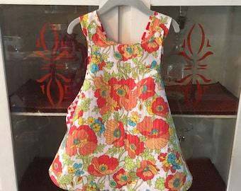 Reversible Toddler Sundress in Vintage Blossom and Warm Chevron