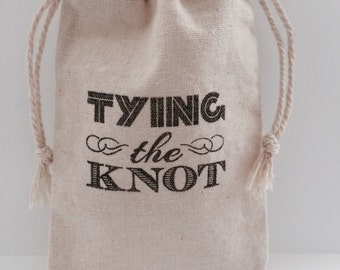 Tying The Knot 3x5 Muslin Wedding, Shower Favor Bags, Set of 25