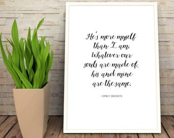 Wuthering Heights Print | Love Quote | Digital Download Wall Art  | Typography Print | Literature | Classic Books Emily Bronte