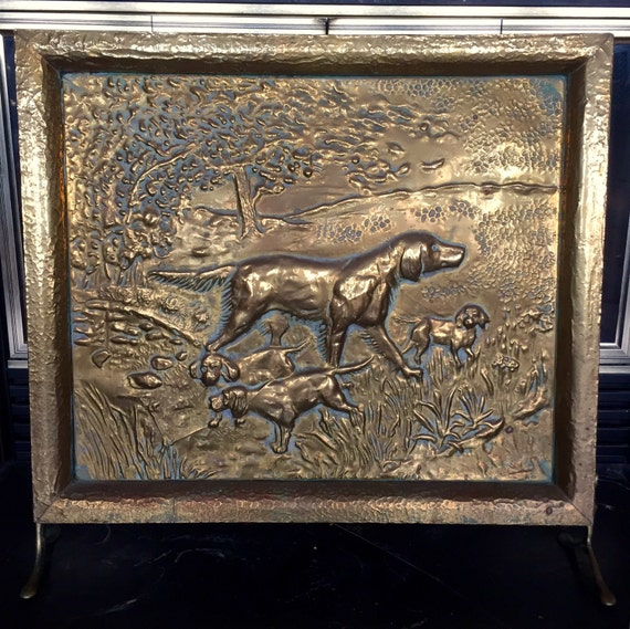 SALE - Antique Brass Hunting Dog Fireplace Screen - SALE Antique Brass Hunting Dog Fireplace Screen